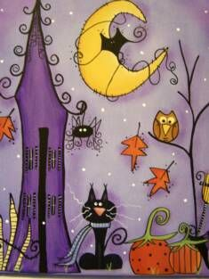 Halloween Nite Canvas Painting--- I like Halloween it's a fun holiday but it was better when I was a kid lol