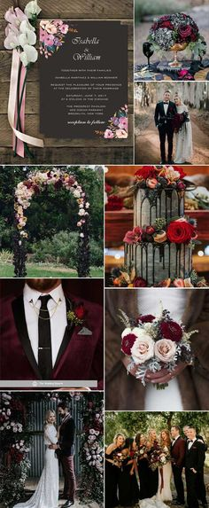 Black, Marsala, Blush wedding Black is one of the winter's most typical and classic hues, and red plays contrast to it for a romantic and vintage theme, such colors including marsala and blush. Sage Green Wedding, Red Wedding, Fall Wedding, Wedding Flowers, Wedding Goals, Winter Wedding Colors, Winter Weddings, Cheap Wedding Invitations, Invites