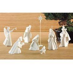 Porcelain Origami Nativity Set