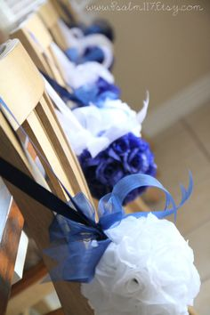 8 -  6 inch wide white and royal blue - rose wedding pomanders RESERVED for Carrie - blue navy royal marine wedding color chart flower decoration. hanging flower balls. pomanders pom pom kissing ball rose ball reception table topper isle decoration