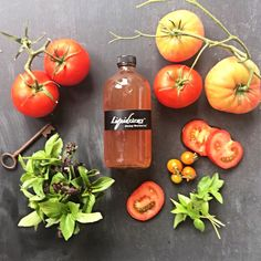 Tomato with spicy Thai and lemon basil! Spicy Thai, Lemon Basil, Cold Pressed Juice, Juices, Stuffed Peppers, Vegetables, Stuffed Pepper, Vegetable Recipes, Juice
