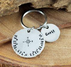 Latitude Longitude Key Chain, Coordinate Key Chain, Personalized Gift Idea, Personalized Key Chain, Hand Stamped Key Ring, Custom Keychain