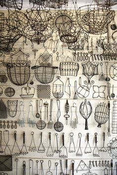Peter Chelly Gray * Shades of Gray, collections of kitchen wire items, white wall with black wire objects. Vitrine Design, Art Fil, Wire Baskets, Wire Crafts, Displaying Collections, Shades Of Grey, Vintage World Maps, Old Things, Objects