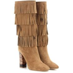 Burberry London Jazmine Fringed Suede Boots (42.980 UYU) ❤ liked on Polyvore featuring shoes, boots, saappaat, brown, brown suede boots, brown shoes, suede shoes, brown fringe boots と fringe boots