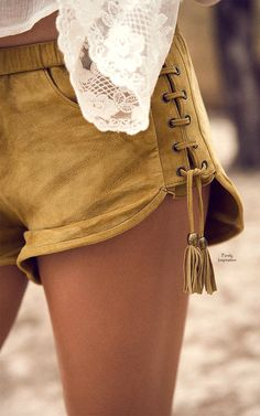 Spelldesigns Island Muse Lace Up Shorts | Purely Inspiration http://shop.spelldesigns.com/collections/new-arrivals/products/island-muse-lace-up-shorts-honey-suede