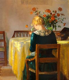 Interior with the painter's daughter Helga sewing, Anna Ancher. Danish Impressionist Painter (1859 - 1935) | beautiful light