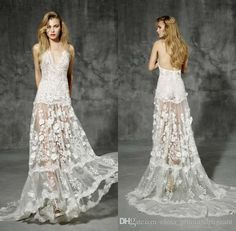 Bohemian Beach Wedding Dresses 2016 Sexy Deep V Neck Low Back 3d Lace Appliques Summer Bridal Gowns Vintage White…