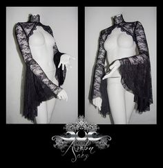 Lace Shrug Bolero Gypsy Sleeves swarovski by AvalonFantasyCouture