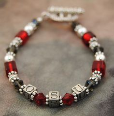 Your place to buy and sell all things handmade Ohio State Football, Ohio State University, Ohio State Buckeyes, Red Pom Poms, Jewelry Ideas, Necklace Ideas, Crochet Chain, Metallic Yarn, Osu Game