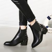 2014 botas de las nuevas mujeres del tobillo de mediana Otoño Tacones de cuero PU Calidad Martin botas de las mujeres de los remaches botas cortas Zapatos de mujer botas