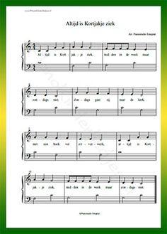 Altijd is Kortjakje ziek - Gratis bladmuziek van kinderliedjes in eenvoudige zetting voor piano. Piano leren spelen met bekende liedjes.