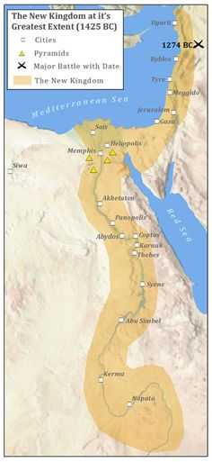 Egypt, 1425 BCE.  The New Kingdom saw Egypt  attain its greatest territorial extent.