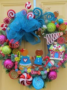 Gingerbread WreathGingerbread by ornamentaltreasures on Etsy Candy Land Christmas, Candy Christmas Decorations, Whimsical Christmas, Pink Christmas, Holiday Wreaths, Christmas Themes, Winter Christmas, Christmas Ornaments, Turquoise Christmas