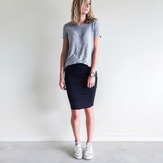 FOLLOW @jayde_archives on Instagram.   Outfit Inspiration: Work basics. Witchery grey tee, Kookai black pencil skirt and Converse white All Star sneakers.