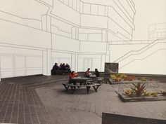 Personal photo | site analysis. Building in lines show scale and size. Court yard is b&w apart from the 'life' people and plants which have colour