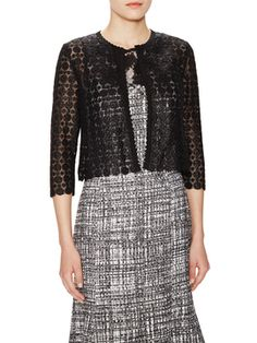 Crochet Lace Cropped Cardigan from Carolina Herrera on Gilt