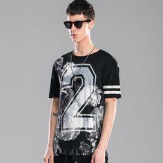 Fashion New Mens Vintage Flowers Baseball Digital Hip-hop Round Neck Short Sleeve T Shirt