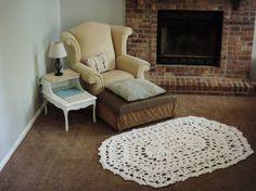 Oval Crochet Lace Doily Rug cottage chic carpet by EvaVillain