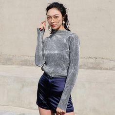 Thin Shiny Bling Glitter Top http://fabulositycloset.com/products/2017-women-spring-long-sleeve-show-thin-spring-shiny-bling-glitter-joker-folds-metal-base-t-shirt-p2?utm_campaign=crowdfire&utm_content=crowdfire&utm_medium=social&utm_source=pinterest