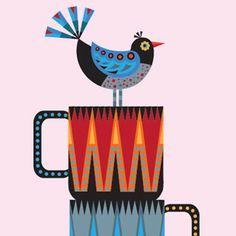 Illustration   'Mug Stack' print by hollyoverthemoon on Etsy