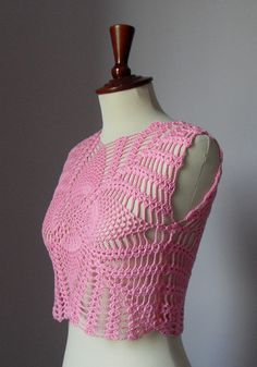 Crocheted tank top  pineapples pattern Cotton  elegant by Silvia66, $115.00