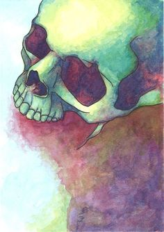 Skull Colorful Red - ACEO Original Ink and Watercolor Painting by IgoingWest