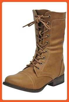 Tan Womens Combat Boots With Zipper Closure Size 7 - Boots for women (*Amazon Partner-Link)