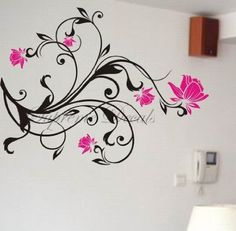 Custom PopDecals - Blessing flowers - Beautiful Tree Wall Decals for Kids  Rooms Teen Girls Boys