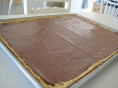 School Lunch Peanut Butter Bars  1 1/2 C Flour 1¼ tsp. Salt ½ tsp. Baking Soda ¾ C Butter ¾ C Sugar ¾ C Brown Sugar 1 ½ tsp. Vanilla 1 1/2 C Creamy Peanut Butter (split) 2 Eggs 1 ½ C Quick Oats Frosting: ½ C Butter (1 stick) 3 ½ C Powdered Sugar 2 T Cocoa ¼ C Milk 1 tsp. Vanilla  Preheat oven to 350 degrees. In a small mixing bowl, mix together flour, baking soda and salt. In a large mixing bowl, cream together butter, sugars, 3/4 C peanut butter, eggs and vanilla until light and fluffy…