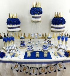 Royal Prince Baby Shower Candy Buffet Diaper Cake Centerpiece with Baby Shower Favors / Boys ROYAL BLUE & GOLD Prince Theme and Decorations