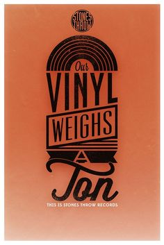 """Design byToni Beschorner for the stones throw records Documentary """"Our vinyl weighs a ton"""" Hip Hop Logo, Stones Throw, Documentary, Sim, Typography, Inspired, Type, Illustration, Cards"""