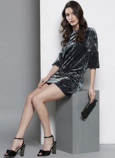 cbb1cd3f514 Buy DOROTHY PERKINS DOROTHY PERKINS Women Grey Velvet Finish Sheath Dress  Online - 4799018 - Jabong