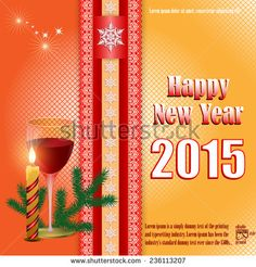 Illustration about New Year abstract background with Happy New Year text and Arabesques divider, glass of wine, celebration candle and Christmas tree branch. Illustration of arabesque, contemporary, branch - 47741287