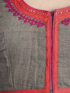 Buy Grey-Orange Embroidered Cotton Blouse by Svasa Online at Jaypore.com