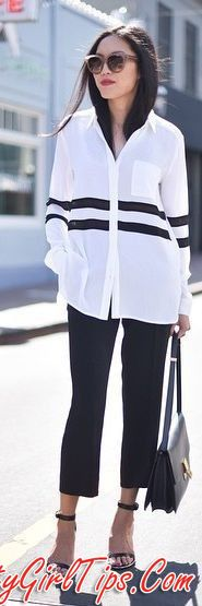 Bold Stripes Button Down Black Trousers