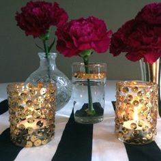 Take your table decorations from basic to unique by following this Glitz and Glam Sequined Candle Centerpiece design.