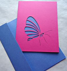 Ooak Butterfly Hand Cut Paper - One Card and Envelope 4.25x5.5 Blue and Pink - Birthdays, GREAT FOR WEDDINGS. $8.60, via Etsy.