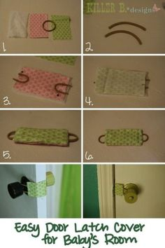 Door latch cover so you don't make noise when entering or exiting a baby's room. Also great in stopping little ones from shutting themselves in a room.