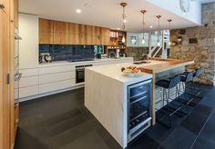 Beautiful integration between timber and Corian®. Credit: Wilko Cabinets Pty ltd. #kitchen #timber #inspiration #benchtop #corian http://casf.com.au/design-inspiration/corian-for-kitchens/the-timber-look/