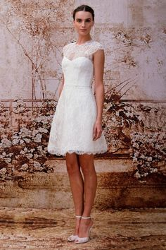 Cute Illusion Short Lace A Line Little Wedding Dress Amo0001