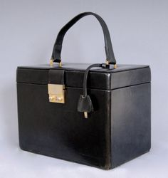 Vintage 1970s Pure Leather Vanity Case Box Bag Flight by vdpshop