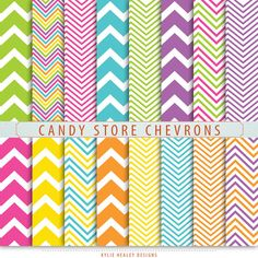 Chevron Digital Paper  Candy Store   Blue by KylieHealeyDesigns, $3.00