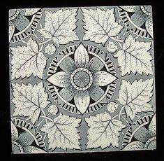 AESTHETIC TRANSFERWARE TILEMAPLE LEAVESStaffordshire England  ~  c. 1885This large Victorian aesthetic 6  x 6 tile is transfer printed in charcoal