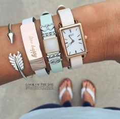Keep-Collective - Blush band, gold time key, mint band, interlocking hearts, pyramid bars, love quartz wishing stone, knot, lavender band, live happy rose gold say something bar.