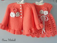 Thank you very much for visiting my store ! My original design and 100% Handmade with Love for Your Baby ! This listing for Knit / Crochet Baby Set : Dress and Cardigan SIZE : 3 - 6 months is READY to SHIP. --------------------------------------------------- The Baby Set are made from the