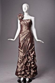 One-shoulder Classic Brown Mother Of Bride Dress - Order Link: http://www.theweddingdresses.com/one-shoulder-classic-brown-mother-of-bride-dress-twdn1173.html - Embellishments: Beading , Flower; Length: Sweep/Brush Train; Fabric: Taffeta; Waist: Dropped - Price: 129.8USD