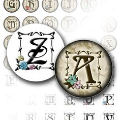 Alphabet letters 1 inch circle digital art collage sheet bottle cap images jewelry making vintage paper supplies