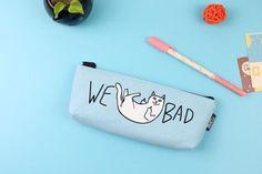 We Bad Cat Pencil Case Canvas With Zipper