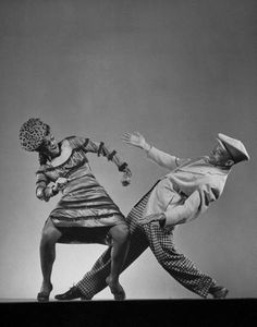 "Dancer Katherine Dunham doing the Florida East-Coast shimmy with dancer Ohardieno during performance of show ""Tropical Revue,"" New York, 1943. Photo by Gjon Mili."