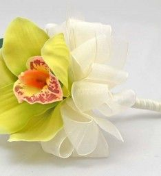 Apple Green Cymbidium Silk Orchid Artificial Wedding Wand #flowergirl #silkflowers #wand